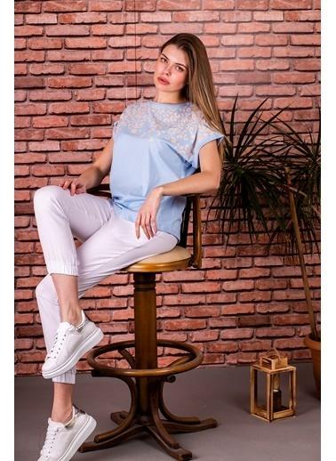 Stamina  Bayan Bisiklet Yaka Leopar Desenli Kısa Kol Bluz-5SP02 Mavi